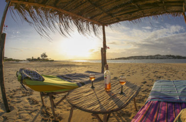 kenya lamu shela manda island retreat eco lodge barefoot island life sunset beach beds wine rose beach shade perfection